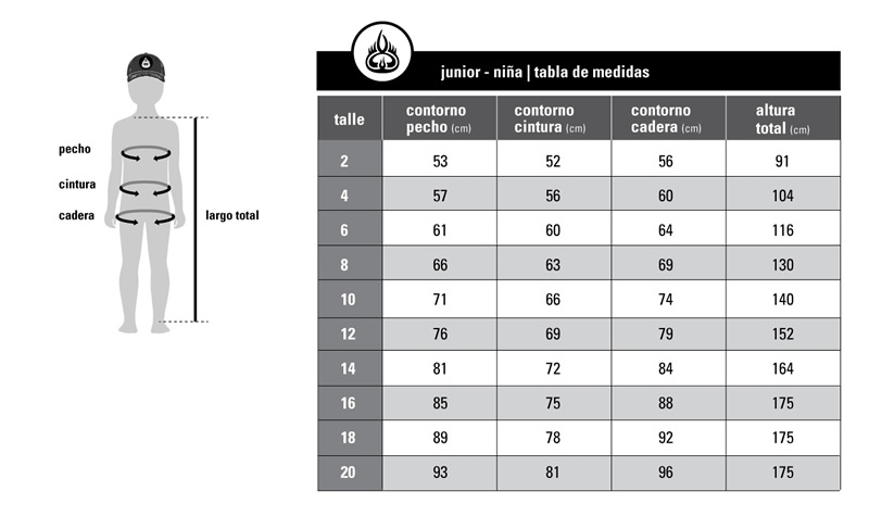 Tabla de medidas junior